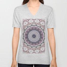 Bohemian White Detailed Mandala Design Unisex V-Neck