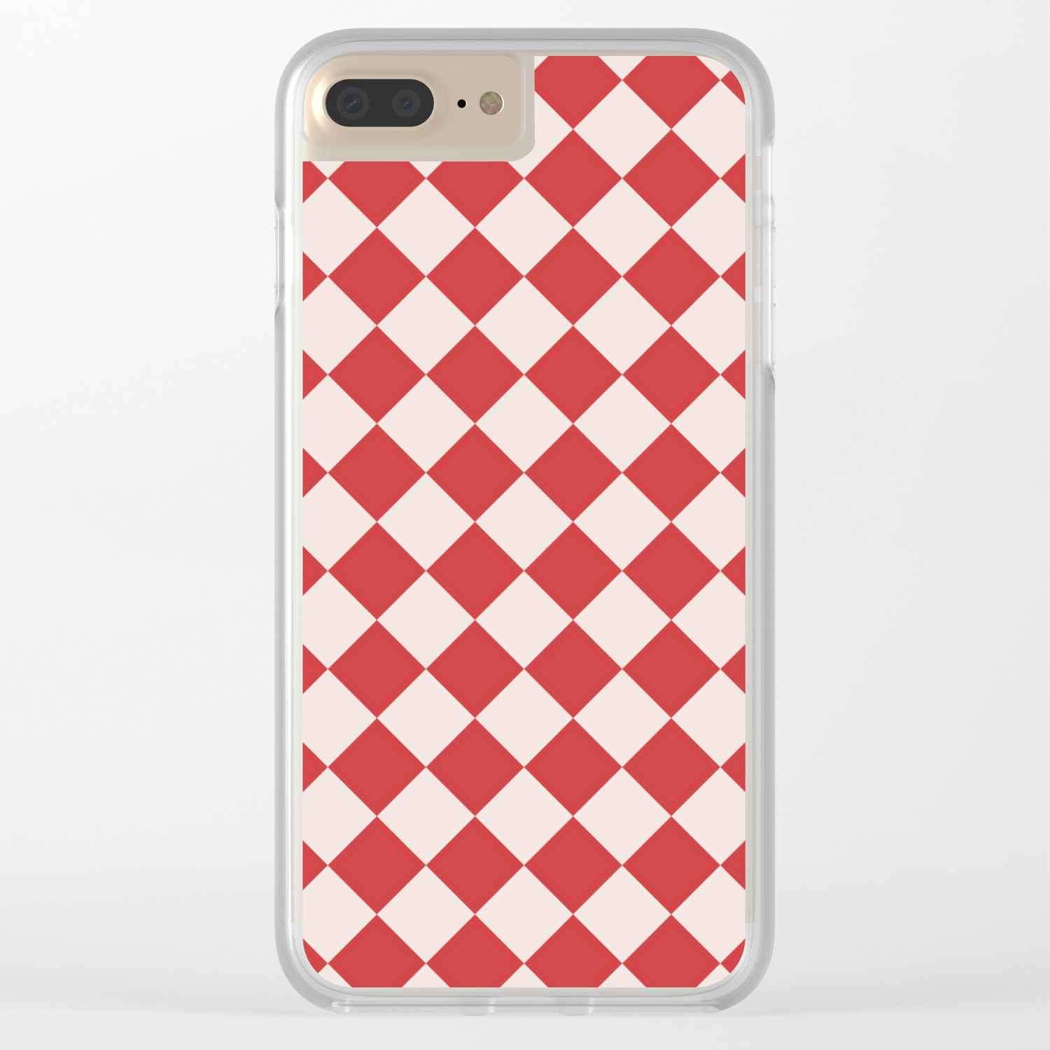 reputable site a3175 fbbbc Red and White Checkered Diamond Pattern Clear iPhone Case
