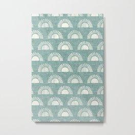 block print suns on dusty jade Metal Print