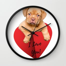 Valentines Day Cute Puppy Gifts Wall Clock