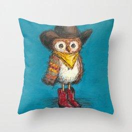 Cowboy Owl Throw Pillow