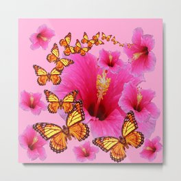GIRLY PINK HIBISCUS YELLOW MONARCH BUTTERFLIES Metal Print