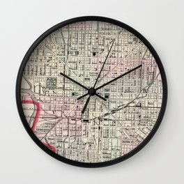 Vintage Map of Indianapolis Indiana (1884) Wall Clock