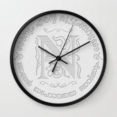 Joshua 24:15 - (Letterpress) Monogram N Wall Clock