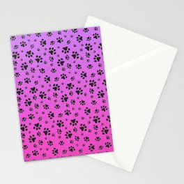 Paw Prints Pink Purple Gradient Stationery Cards