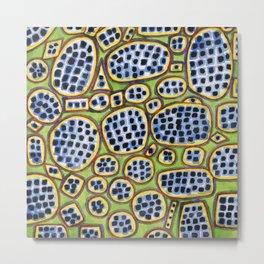 Blue-Black Seeds Pattern Metal Print