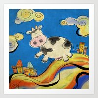 Cow - blue Art Print