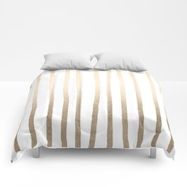 Simply Drawn Vertical Stripes in White Gold Sands Comforters