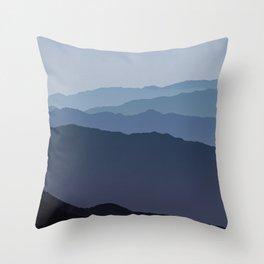 Misty Mountain Blue Throw Pillow