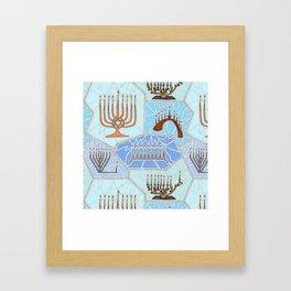 Hanukkah Menorah Mosaic in Light Blues Framed Art Print