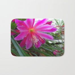 "BLOOMING FUCHSIA PINK "" ORCHID CACTUS"" FLOWER Bath Mat"