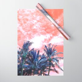 Surreal Wild and Free Palm Trees - Coral & Blue Wrapping Paper