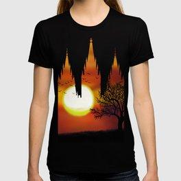 Salt Lake Temple Sunset Tree Silhouette T-shirt