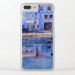 Isar Promenade Landshut mit Wasserspiegelung Clear iPhone Case