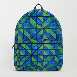 Green Blue HST with black accent sashing quilt Backpack