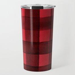 Buffalo Plaid Watercolor in Red Travel Mug