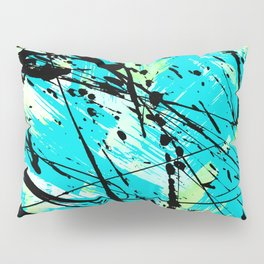 Abstract teal lime green brushstrokes black paint splatters Pillow Sham