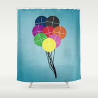 balloons Shower Curtains featuring Balloons by Losal Jsk