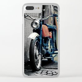 Small motorcycle parked Clear iPhone Case