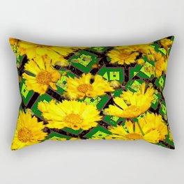 Golden Yellow Coreopsis Flowers Green-black Patterns Rectangular Pillow