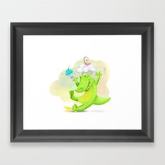 Slippery gator Framed Art Print