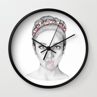 bubblegum Wall Clocks featuring Bubblegum by Sophiamonique