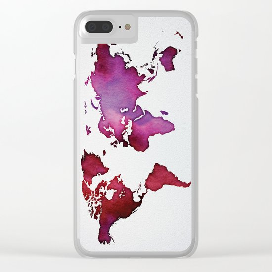 Red & Pink World Map Clear iPhone Case