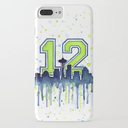 Seattle 12th Man Art Skyline Watercolor iPhone Case