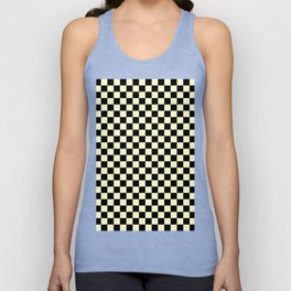 Black and Cream Yellow Checkerboard Unisex Tank Top