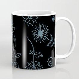 Sweet whirling flowerbed pattern - blue on black Coffee Mug