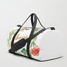 Bride Modern Typography Floral Wreath Duffle Bag