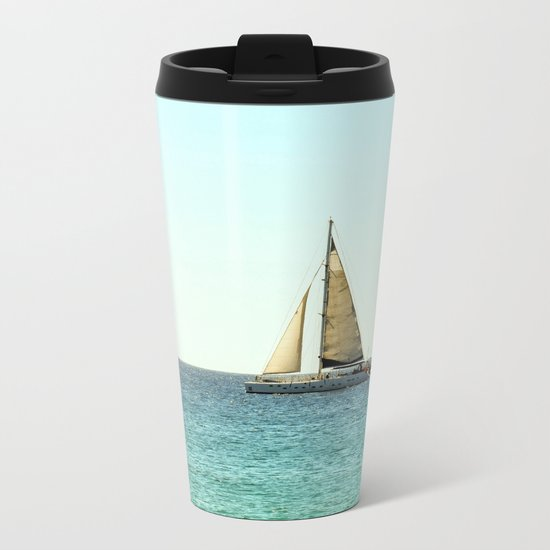 Sail Away with Me - Ocean, Sea, Blue Sky and Summer Sun Metal Travel Mug