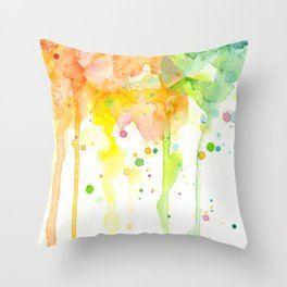 Rainbow Watercolor Pattern Texture Throw Pillow