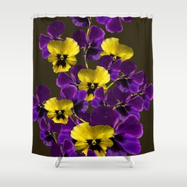 Purple And Yellow Flowers On A Dark Background #decor #buyart #society6 Shower Curtain