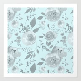 light blue and gray floral watercolor print Art Print