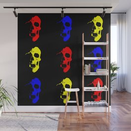 Skull 3x3 - Red/Blue/Yellow Wall Mural