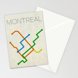 Minimal Montreal Subway Map Stationery Cards