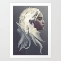 thrones Art Prints featuring Mother of Dragons by Artgerm™