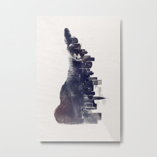 Fox from the City Metal Print