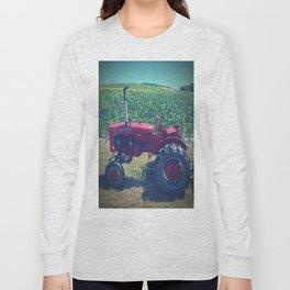 Farm Tractor Corn Field Farmer Print Long Sleeve T-shirt
