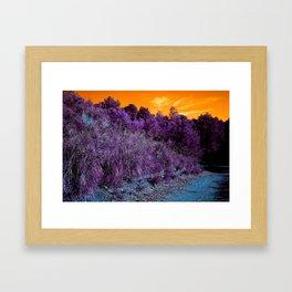 Not home planet alien landscape indigo purple orange surreallist Framed Art Print