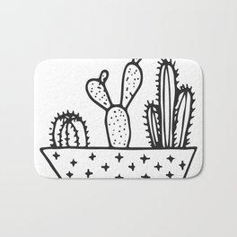Cactus House Garden Black and White Bath Mat