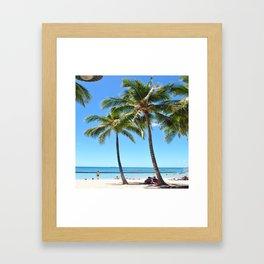 Palm Tree with Hawaii Summer Sea Beach Framed Art Print