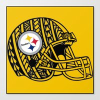 steelers Canvas Prints featuring Polynesian style Steelers by Lonica Photography & Poly Designs