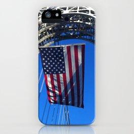Flag flying on GW Bridge NYC iPhone Case