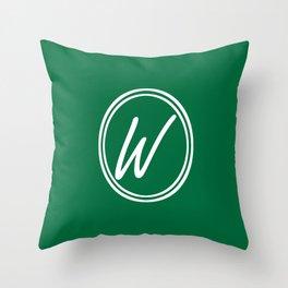 Monogram - Letter W on Cadmium Green Background Throw Pillow