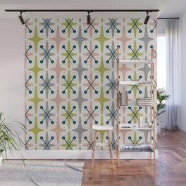 Mid Century Modern Abstract Star Pattern 222 Teal Chartreuse Dusty Rose and Gray Wall Mural