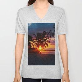 Tropical Sunset Beach Palm Trees Landscape Unisex V-Neck