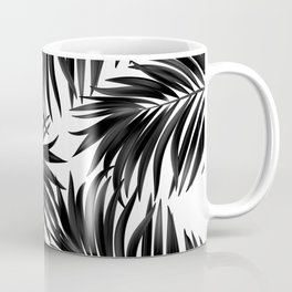 Palm Tree Fronds Black on White Maui Hawaii Tropical Graphic Design Coffee Mug