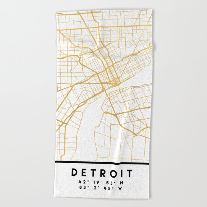 DETROIT MICHIGAN CITY STREET MAP ART Beach Towel by deificusart ...